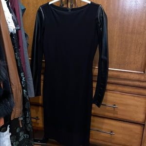 NICOLE MILLER black staright dress w faux leather